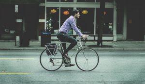 geluk, fietsen naar werk